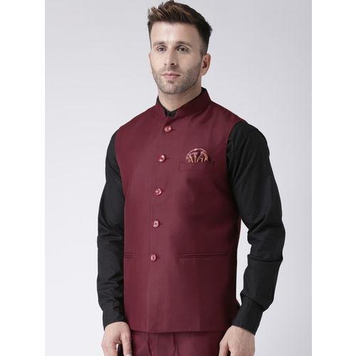 Hangup Men Maroon Solid Woven Nehru Jacket