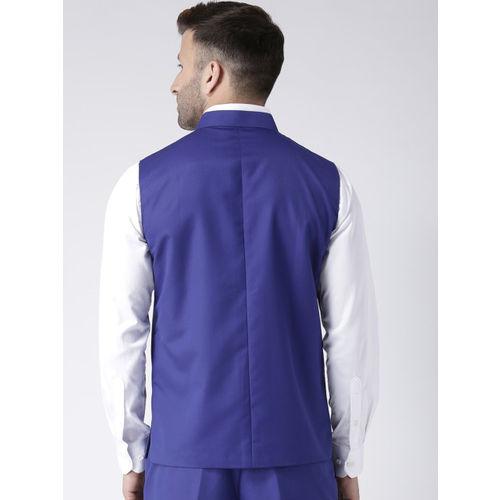 Hangup Men Navy Blue Solid Woven Nehru Jacket