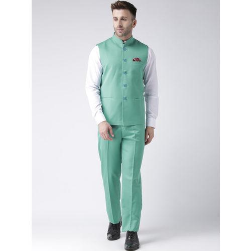 Hangup Men Sea Green Solid Woven Nehru Jacket