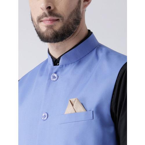 Hangup Men Blue Solid Nehru Jacket