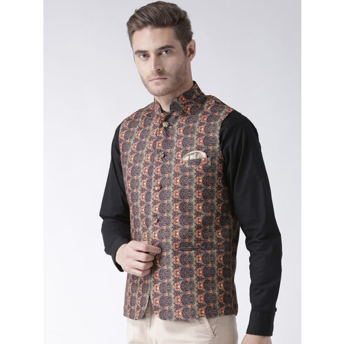 Hangup Men Multicoloured Woven Printed Nehru Jacket