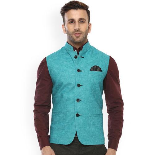 Hangup Men Turquiose Blue Solid Nehru Jacket
