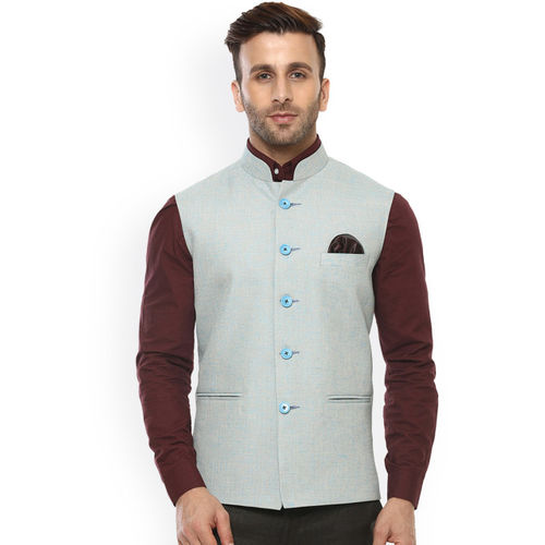 Hangup Men Blue Solid Nehru Jacket