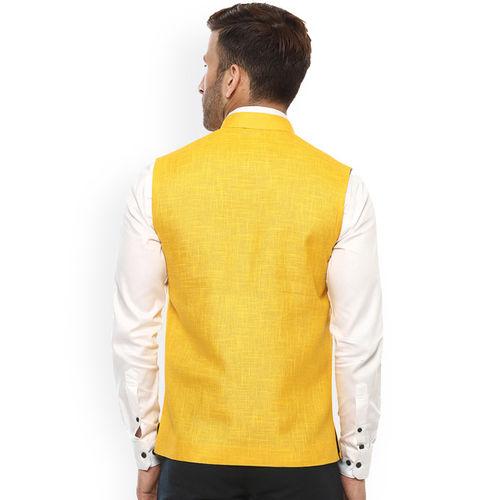 Hangup Yellow Nehru Jacket with Pocket Square