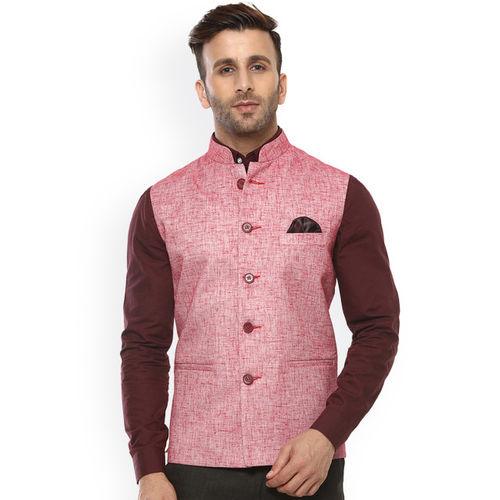 Hangup Red Nehru Jacket with Pocket Square