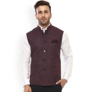 Hangup Red & Blue Nehru Jacket with Pocket Square