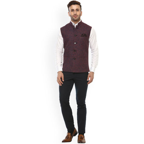 Hangup Red & Blue Nehru Jacket with Pocket Square