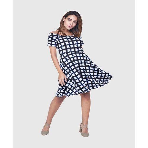 AND Blue & Black Printed Knee Length Dress
