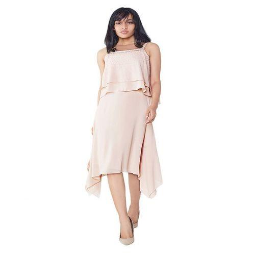 AND Peach Embellished Flounce Dress