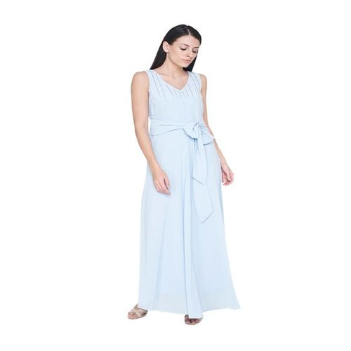 AND Powder Blue Embroidered Maxi Gown