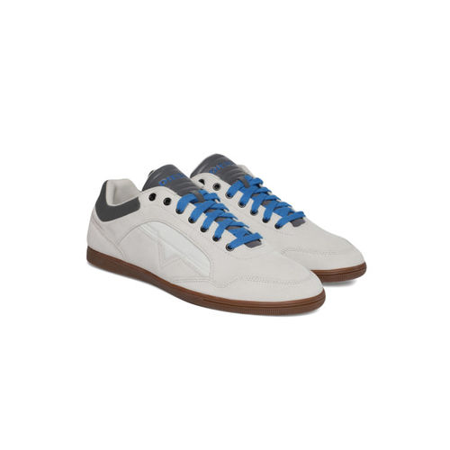 DIESEL Men Off-White & Grey Happy Hours S Arrow Low Colourblocked Suede Sneakers
