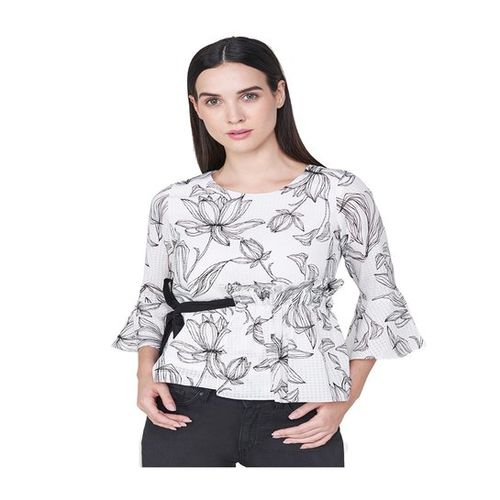 AND Off White Floral Print Top