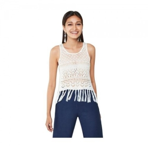 Global Desi Off White Lace Crop Top