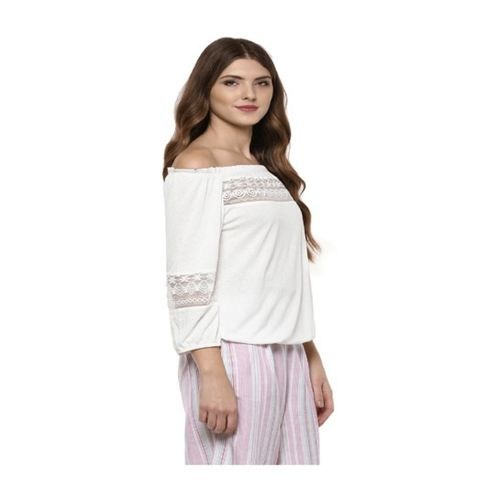 109 F Off White Textured Off Shoulder Top