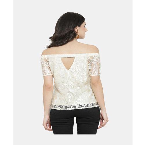 Latin Quarters Cream Embroidered Top