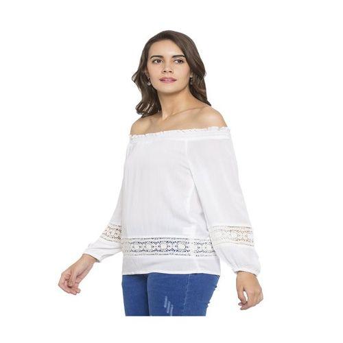 Globus White Printed Off Shoulder Top