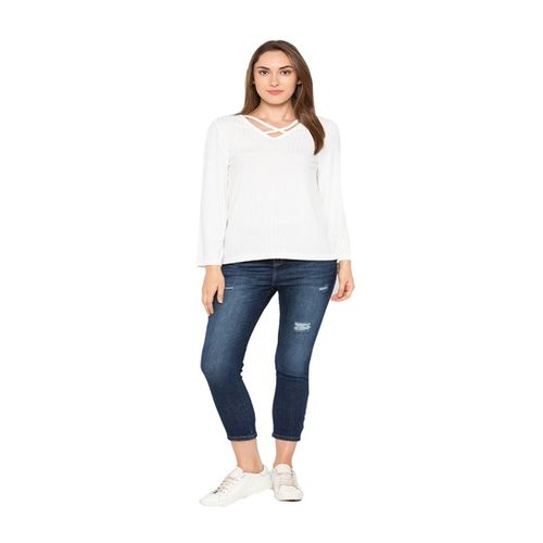Globus White Self Pattern Top