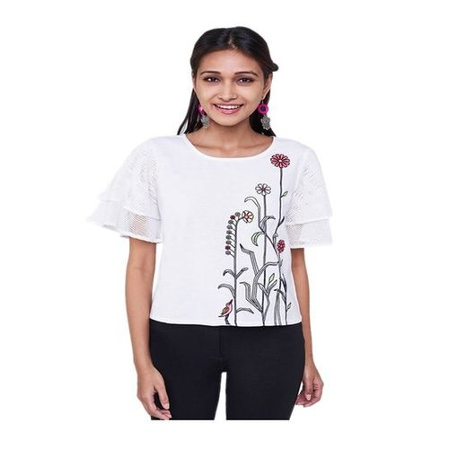 Global Desi White Floral Print Top