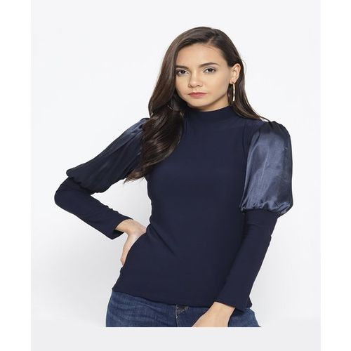 Cayman Navy Turtle Neck Top