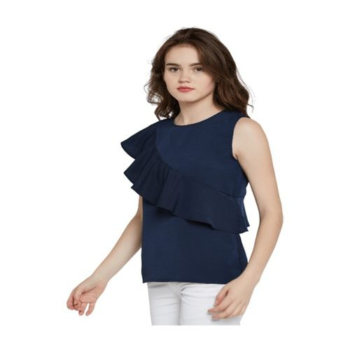 Miss Chase Navy Crepe Top