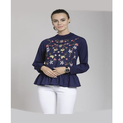 PlusS Navy Embroidered Top
