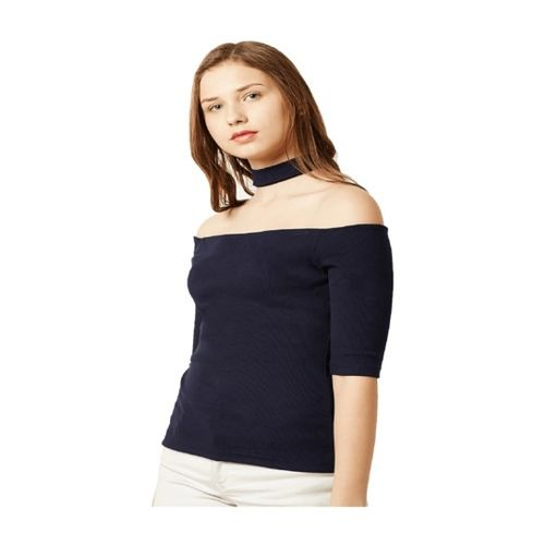 Miss Chase Navy Striped Cotton Top