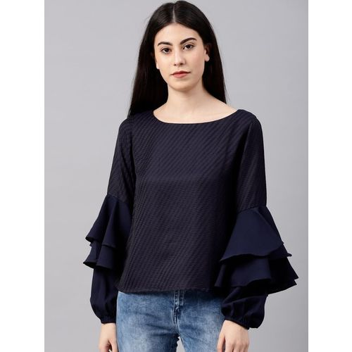 NUSH Navy Textured Top