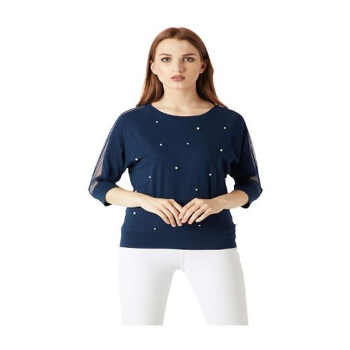 Miss Chase Navy Embellished Top