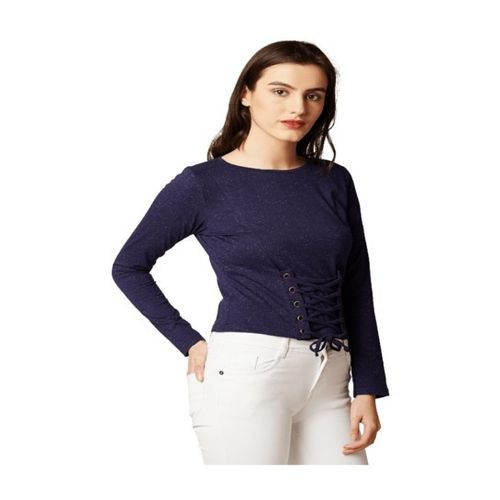 Miss Chase Navy Textured Cotton Top