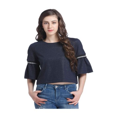 Only Navy Textured Top