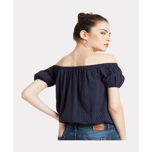 Cover Story Coverstory Navy Polka Dot Top