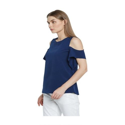 AND Navy Cold Shoulder Top