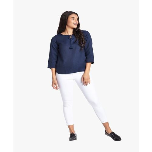 Global Desi Navy Textured Top