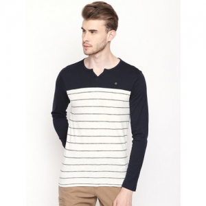 Urban Ranger by pantaloons Men White Striped Henley Neck T-shirt