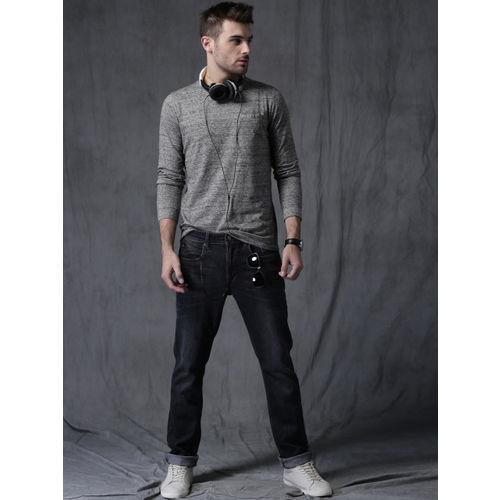 WROGN Men Grey Melange Self Design Round Neck T-shirt