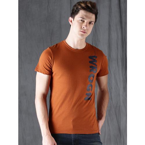 WROGN Men Rust Orange Printed T-shirt