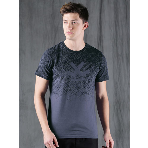 WROGN Men Blue Printed Round Neck T-shirt