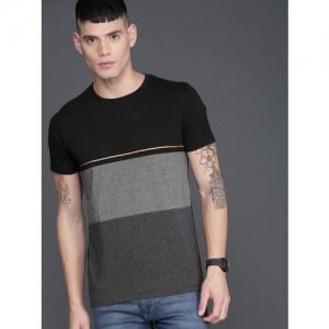 WROGN Men Black & Grey Colourblocked Round Neck Slim Fit T-shirt