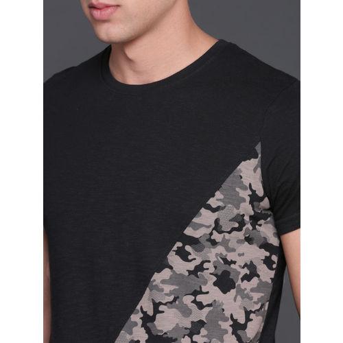 WROGN Men Black Camouflage Printed Round Neck T-shirt