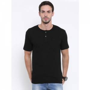 Fox Men Black Solid Henley Neck T-Shirt