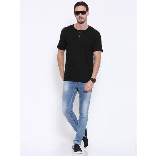 Fox Men Black Solid Henley Neck T-Shirt