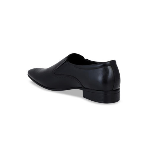 Pelle Albero Men Black Leather Formal Slip-Ons