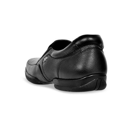 Allen Cooper Men Black Leather Formal Slip-Ons
