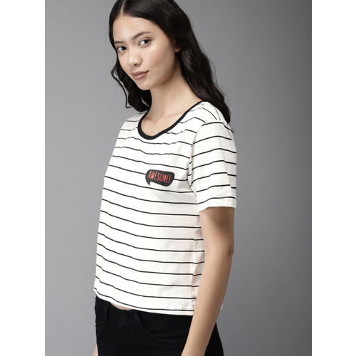 HERE&NOW Women White & Black Striped Round Neck Crop T-shirt