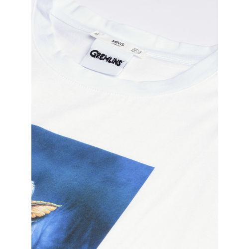 MANGO Women White Gremlins Print Round Neck T-shirt