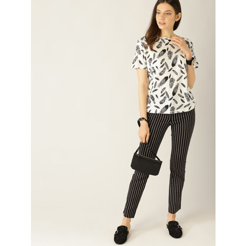 MANGO Women White & Black Printed Round Neck T-shirt