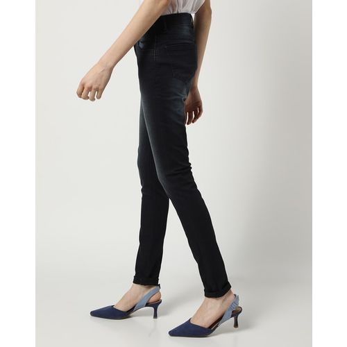 Devis Mid-Rise Washed Skinny Jeans