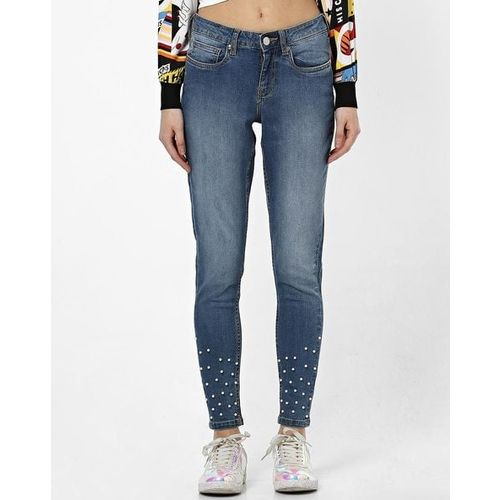 DNMX Mid-Rise Skinny Jeans with Pearls