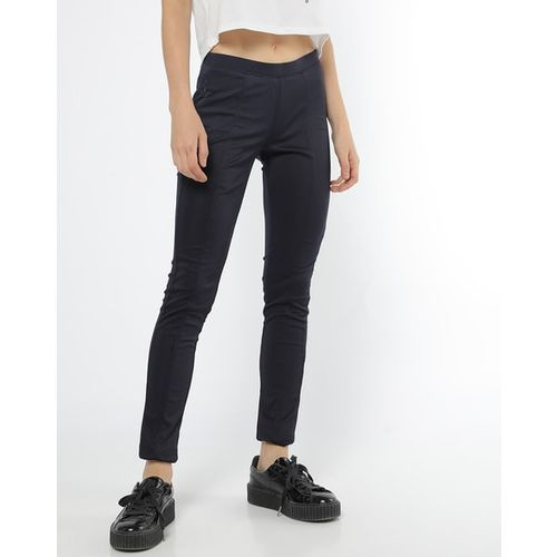 Devis Mid-Rise Panelled Skinny Jeggings with Elasticated Waist
