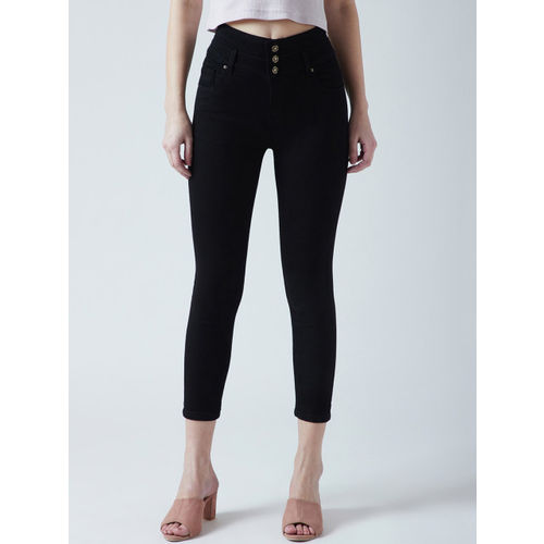 Devis Women Black Skinny Fit High-Rise Clean Look Stretchable Jeans
